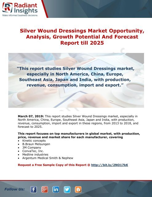 Silver Wound Dressings Market Opportunity, Status and Forecast
