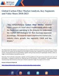 Global Carbon Fiber Market Analysis, Key Segments and Value Share 2018-2023
