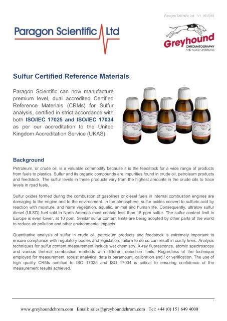 Paragon Scientific Sulfur Standards Guide