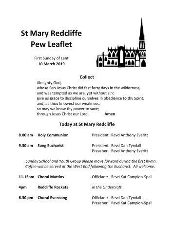 St Mary Redcliffe Church Pew Leaflet - March 10 2019