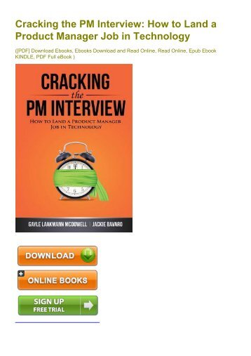 cracking the pm interview ebook free download