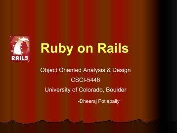 Ruby on Rails - University of Colorado Boulder