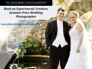Booking an Experienced , Creative, Geniune Prices Wedding Photographer