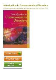 (JACKPOT) Introduction to Communicative Disorders ebook eBook PDF