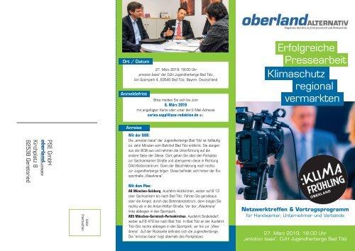 """Klimafrühling Oberland - Veranstaltung """"Erfolgreiche Pressearbeit"""""""
