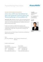 New head of corporate communications and marketing - Krauss Maffei