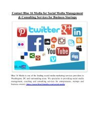 Contact Blue 16 Media for Social Media Management and Consulting Services for Business Startups