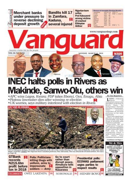 11032019 - INEC halts polls in Rivers as Makinde, Sanwo-Olu, others win