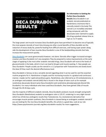A Guideline to Getting the Finest Deca Durabolin Results