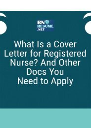 What Is a Cover Letter for Registered Nurse? And Other Docs You Need to Apply