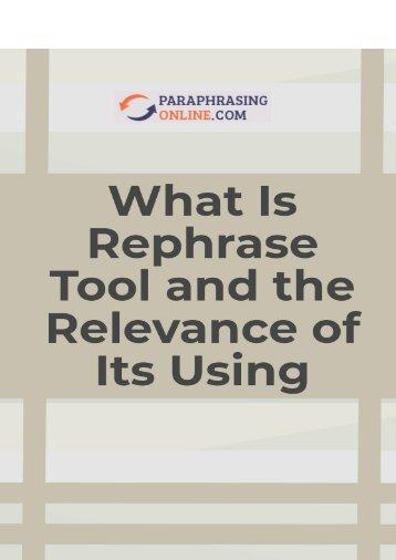 Rephrase Tool