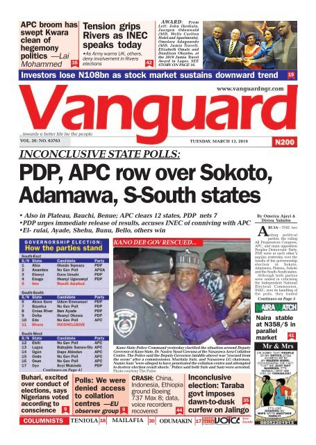 12032019 - INCONCLUSIVE STATE POLLS: PDP, APC row over Sokoto, Adamawa, S-South states