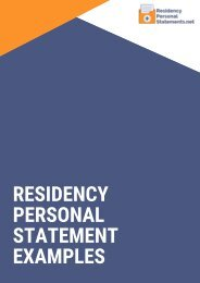 Residency Personal Statement Examples