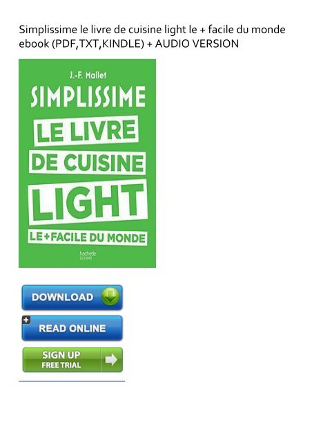 Self Sufficient Simplissime Le Livre De Cuisine Light Le Facile