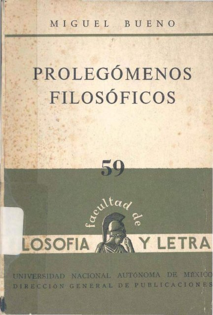 Prolegomenos filosoficos -Miguel Bueno