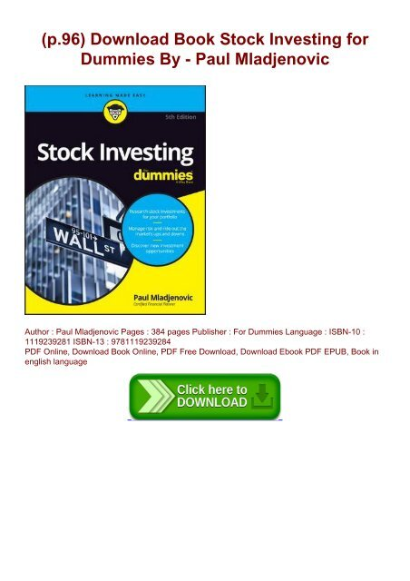 Investing in stock for dummies pdf htm investment accounting treatment