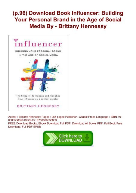 p 96) Download Book Influencer: Building Your Personal Brand