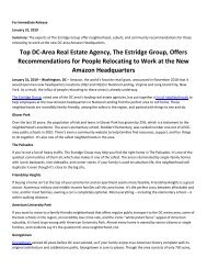 Top DC Area Real Estate Agency The Estridge Group Offers Recommendations for People Relocating to Work at the New Amazon Headquarters