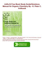 (inDx.9) Free Book Study Guide/Solutions Manual for Organic Chemistry By - K. Peter C. Vollhardt