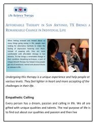 Affordable Therapy in San Antonio, TX Brings a Remarkable Change in Individual Life