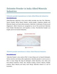 Dolomite powder manufacture in India Allied Minerals Industries