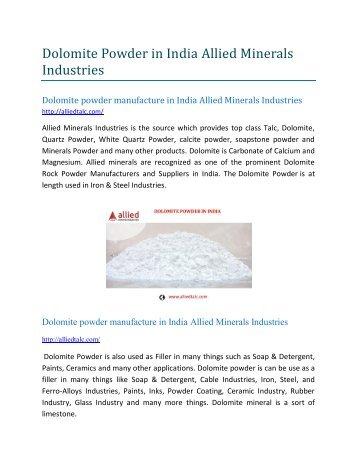 Dolomite powder manufacture in India Allied Minerals Industries