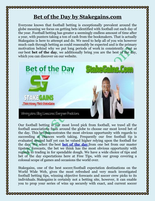 Bet of the Day by Stakegains