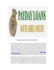 Payday loans South Africa Online
