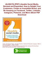 (ALWAYS) [PDF]  Likeable Social Media, Revised and Expanded: How to Delight Your Customers, Create an Irresistible Brand, and Be Amazing on Facebook, Twitter, Linkedin, Instagram, Pinterest, and More eBook PDF Download