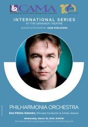 CAMA—Wednesday, March 20, 2019, The Granada Theatre, Santa Barbara, 8:00PM—Philharmonia Orchestra with Esa-Pekka Salonen