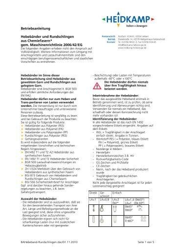 Betriebsanleitung Hebebänder und Rundschlingen aus Polyester
