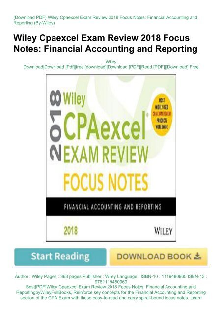 Financial Accounting and Reporting Wiley CPAexcel Exam Review 2018 Study Guide