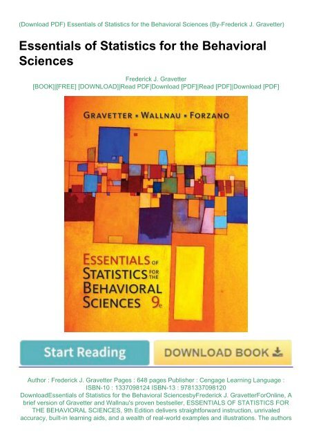 essentials of statistics for the behavioral sciences 9th edition ebook
