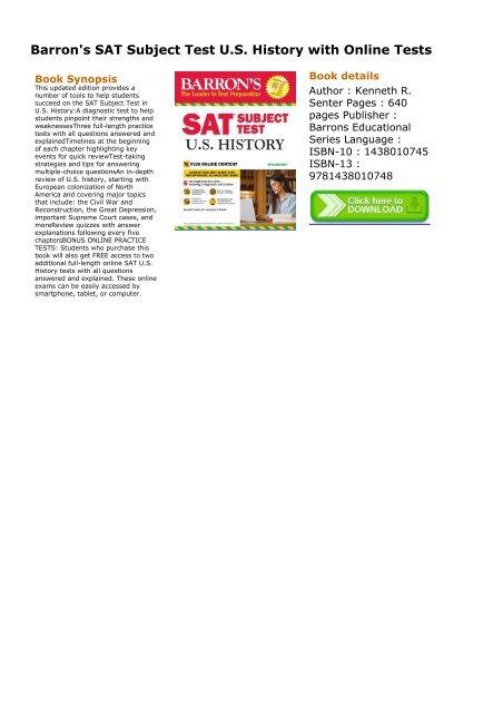 SKYROCKET) Barron's SAT Subject Test U S  History with