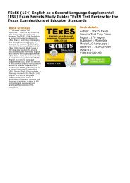 (RELIABLE) TExES (154) English as a Second Language Supplemental (ESL) Exam Secrets Study Guide: TExES Test Review for the Texas Examinations of Educator Standards ebook eBook PDF