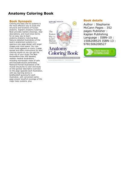 - BRIGHT) Anatomy Coloring Book EBook PDF Download