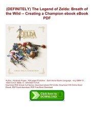(DEFINITELY) The Legend of Zelda: Breath of the Wild -- Creating a Champion ebook eBook PDF