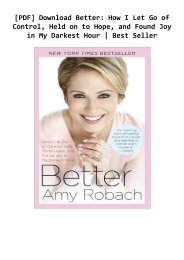 [PDF] Download Better: How I Let Go of Control, Held on to Hope, and Found Joy in My Darkest Hour | Best Seller