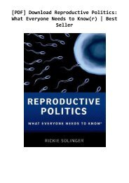 [PDF] Download Reproductive Politics: What Everyone Needs to Know(r) | Best Seller