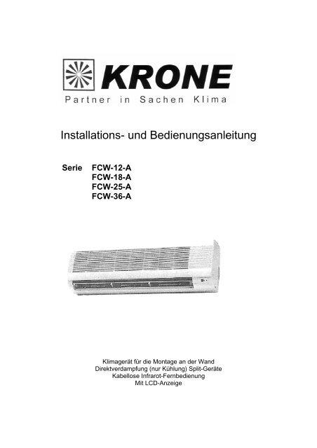Installations- und Bedienungsanleitung - KRONE Kälte & Klima GmbH