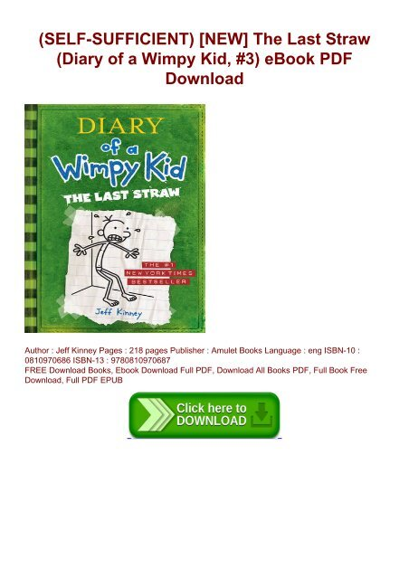 Self Sufficient New The Last Straw Diary Of A Wimpy Kid 3 Ebook Pdf Download
