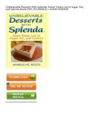 E-book download Unbelievable Desserts With Splenda: Sweet Treats Low in Sugar, Fat, and Calories by Marlene Koch Ebook Download