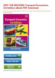 (OFF THE RECORD) Transport Economics, 3rd Edition eBook PDF Download