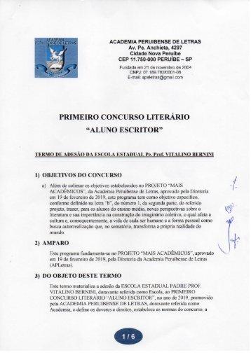 "PRIMEIRO CONCURSO LITERÁRIO ""ALUNO ESCRITOR"""