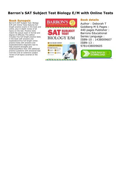 SELF-SUFFICIENT) Barron's SAT Subject Test Biology E/M with
