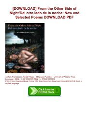 [DOWNLOAD] From the Other Side of Night/Del otro lado de la noche: New and Selected Poems DOWNLOAD PDF