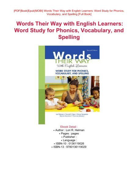 DOWNLOAD PDF Free eBook Words Their Way with English Learners: Word
