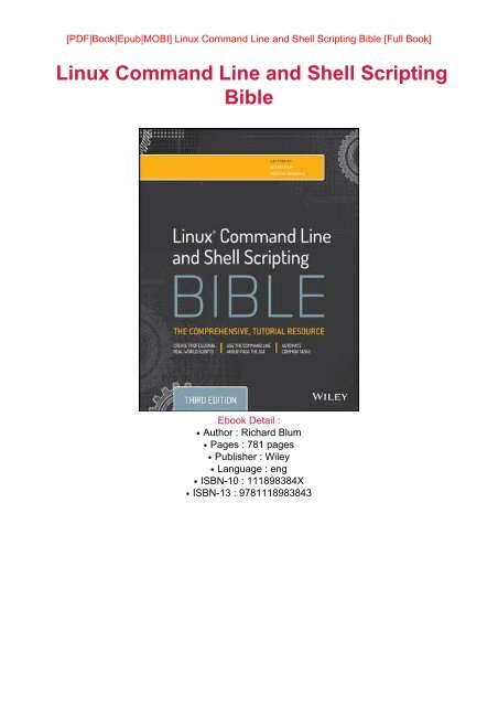 DOWNLOAD PDF eBook Free Linux Command Line and Shell Scripting Bible