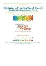 PDF DOWNLOAD eBook Free Introduction to Computing Using Python: An Application Development Focus Full PDF
