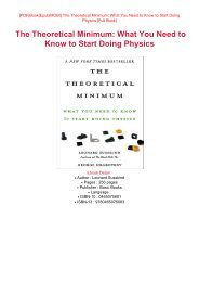 PDF DOWNLOAD eBook Free The Theoretical Minimum: What You Need to Know to Start Doing Physics Read Online